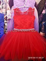 Детское нарядное платье бальное Прима.  Возраст 6-7 лет. Красное, фото 1