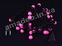 Розовая Гирлянда-Нить Шарики Белт Лайт (Belt Light) на черном проводе 5 м, 44 LED шарика, переходник