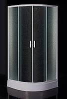 """TISZA душевая кабина 80*80*185 см, на мелком поддоне, профиль белый, стекло """"Zuzmara"""" (стекла+двери)"""