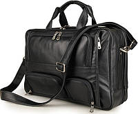 Горизонтальная деловая сумка для командировок из натуральной кожи в черном цвете Tiding Bag  7289A