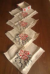 Набір лляних серветок з вишивкою