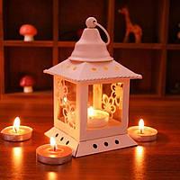 Подсвечник - фонарь декоративный металл белый - 14х8х8 см