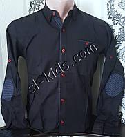 Стильная коттоновая рубашка для мальчика 7-12 лет(опт) (темно синяя) (пр. Турция)