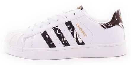 Женские кроссовки adidas Superstar White/Black (Адидас Суперстар) черно-белые