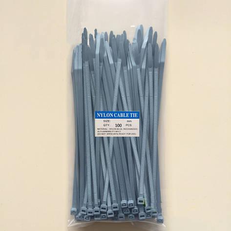 Кабельная стяжка нейлоновая серого цвета 4*370 (3,6*370) 100шт., фото 2