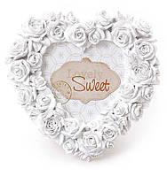 """Фоторамка """"Сердечко из роз"""" настольная Размер - 16*1.5*16см, искусственный камень"""
