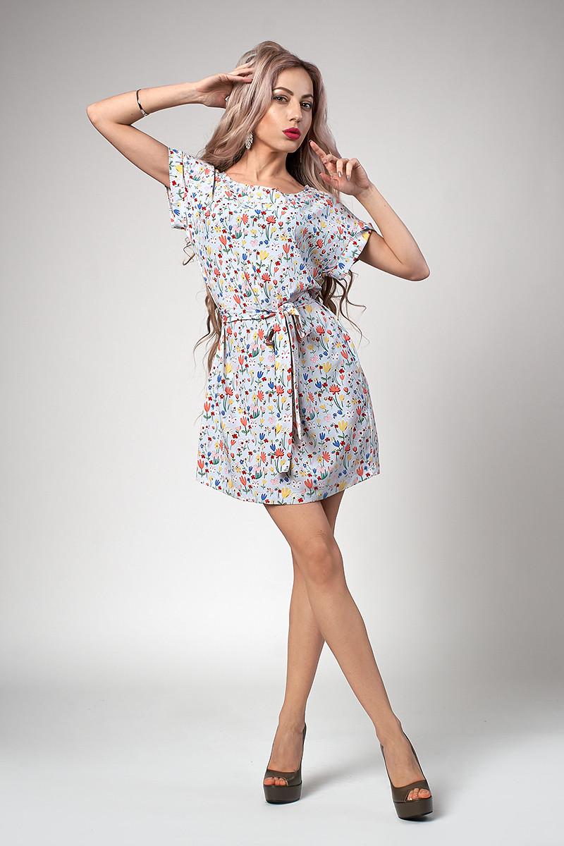 Платье мод №554-5, размеры 44,46,48 голубой тюльпан