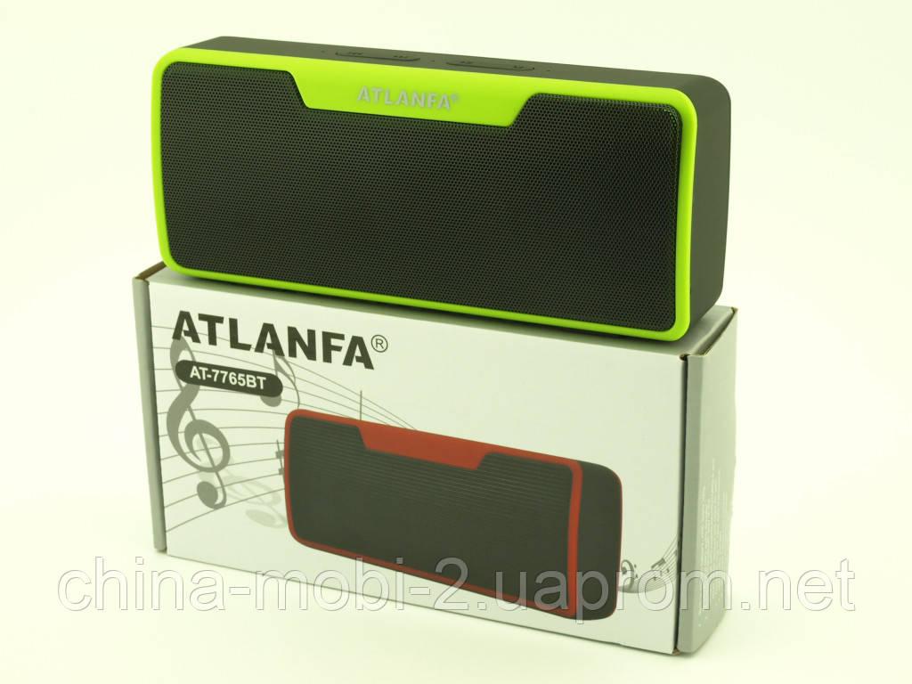 Atlanfa AT-7765 BT 6W, портативна колонка з Bluetooth FM MP3, чорна з зеленим