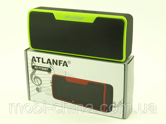 Atlanfa AT-7765 BT 6W, Bluetooth колонка с FM MP3, черная с зеленым, фото 2