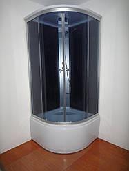 Душевой бокс без электроники на глубоком поддоне 900*900*2150 мм полностью стеклянный GREY EKO