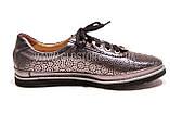 Женские серебряные кожаные кроссовки в сетку, фото 3
