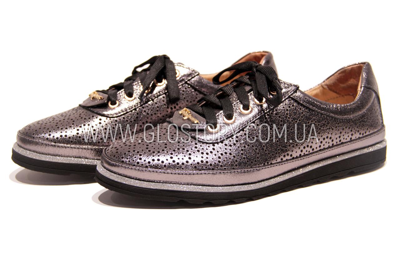 Женские серебряные кожаные кроссовки в сетку