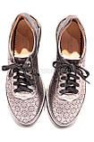 Женские серебряные кожаные кроссовки в сетку, фото 6