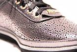 Женские серебряные кожаные кроссовки в сетку, фото 5