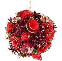 Новогоднее украшение Шар 16см с декором из ягод, шишек и звезд