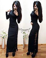 Женское платье в пол со шнуровкой