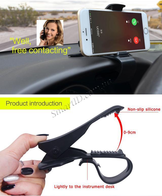 Держатель для телефона/навигатора в машину на козырек приборной панели (Черный)