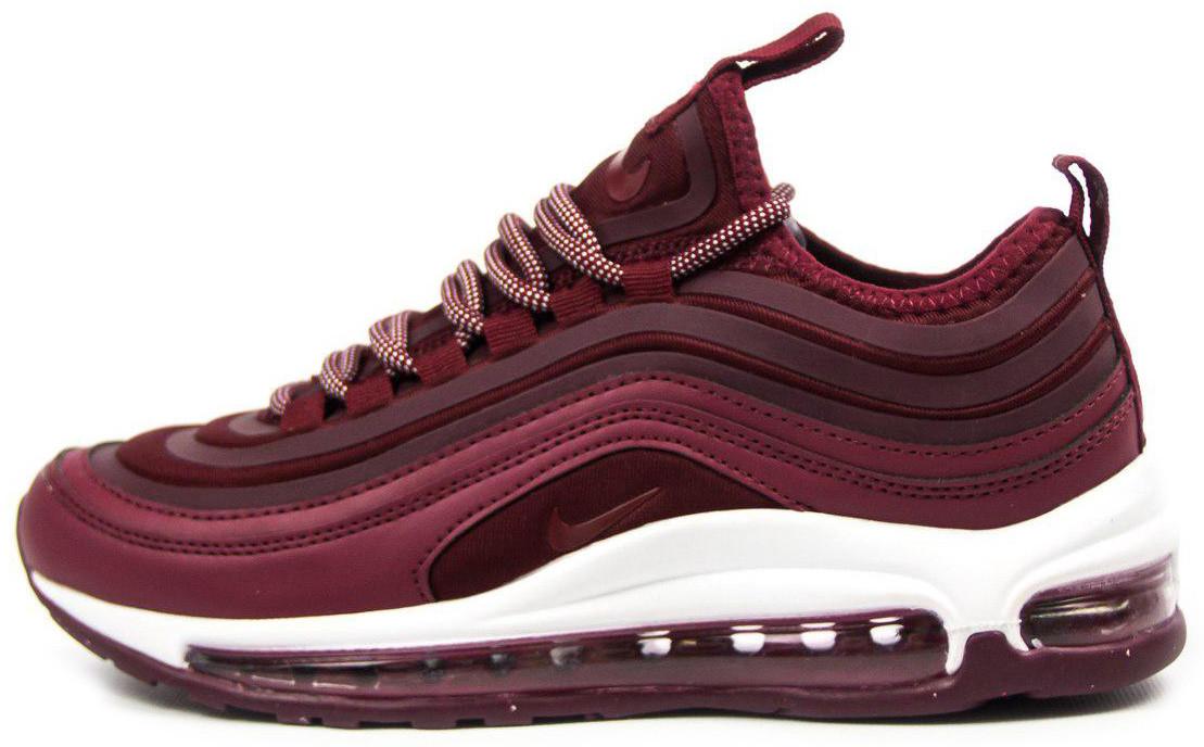 Женские кроссовки Nike Air Max 97 (Найк Аир Макс) бордовые