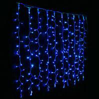 Штора 1.5х1.2м 144 led прозрачный провод, цвет синий - декоративная гирлянда на Новый год