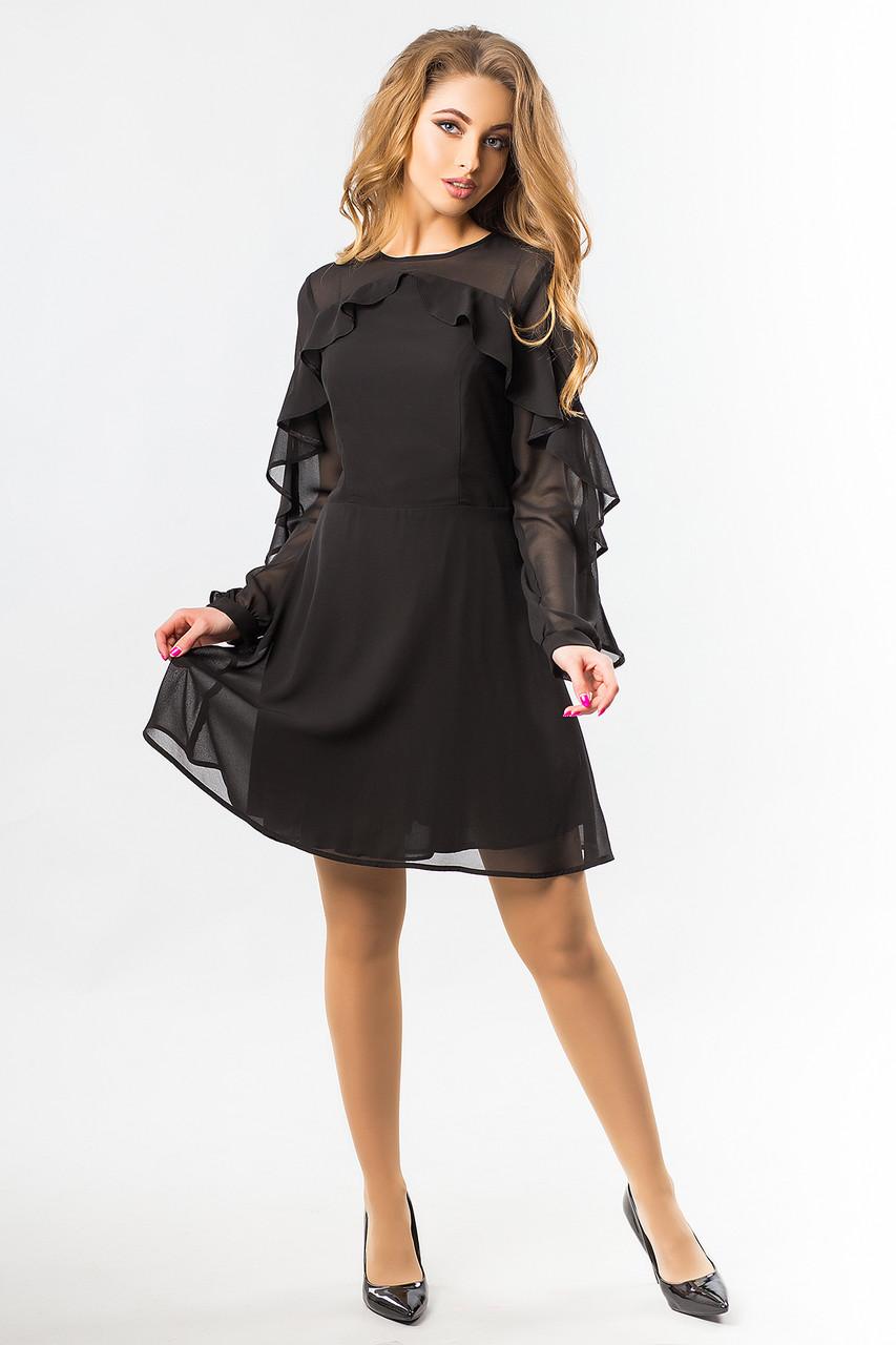 6a81b02780e Черное шифоновое платье с 2-мя оборками - Интернет-магазин
