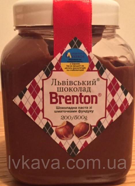 Шоколадная паста с кусочками фундука Львівський шоколад Брентон, 500 гр