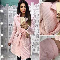 Ультрамодное женское пальто (стеганная плащевка, карманы, лацканы, пояс на завязке) РАЗНЫЕ ЦВЕТА!