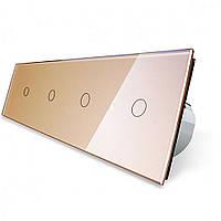 Сенсорный выключатель Livolo 1+1+1+1 золото стекло (VL-C704-13)