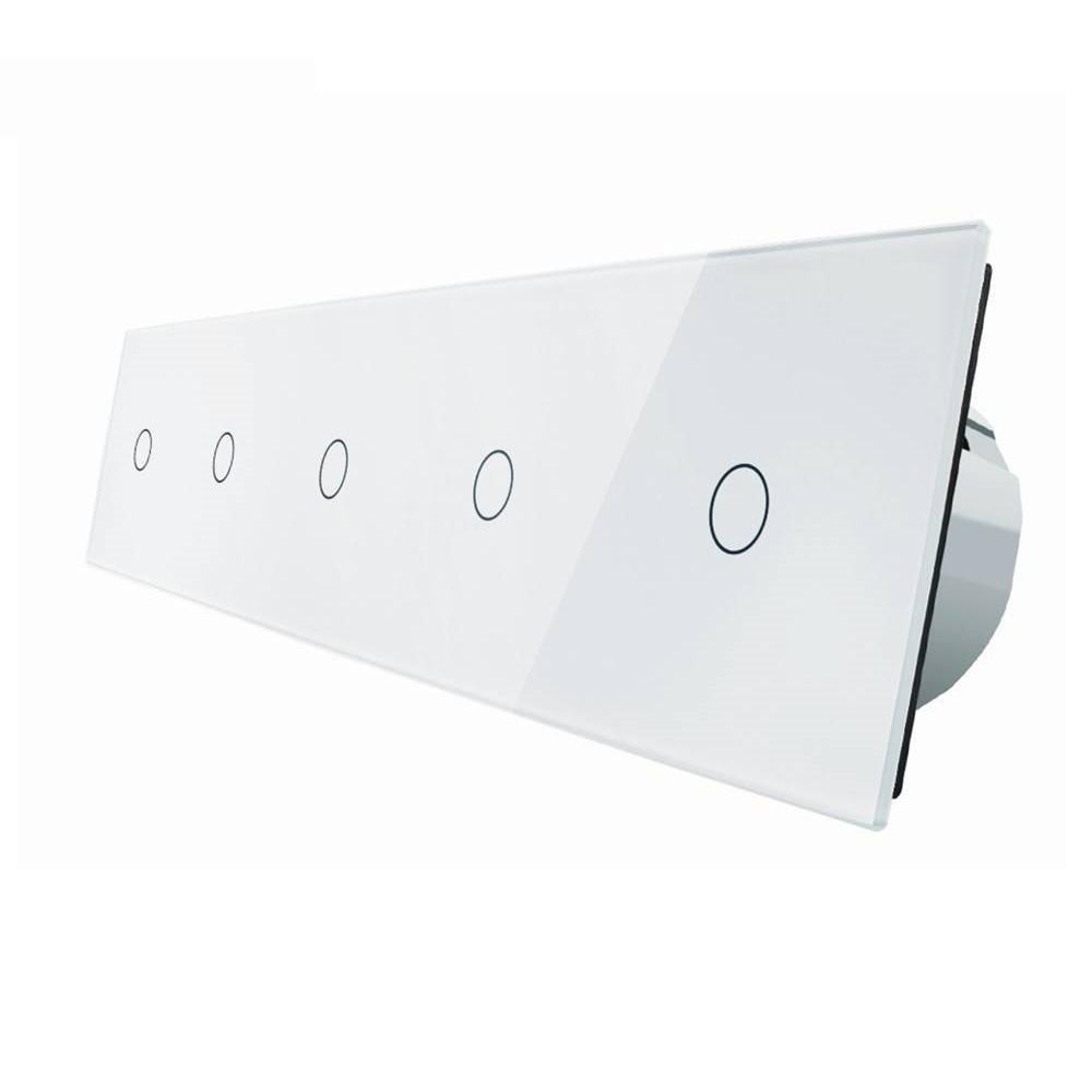 Сенсорный выключатель Livolo 1+1+1+1+1, цвет белый, стекло (VL-C705-11)