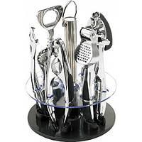Набор открывалок - барсет кухонных принадлежностей (штопор,подставка, щипцы, чесночница,)