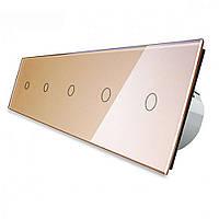 Сенсорный выключатель Livolo 1+1+1+1+1 золотой стекло (VL-C705-13)