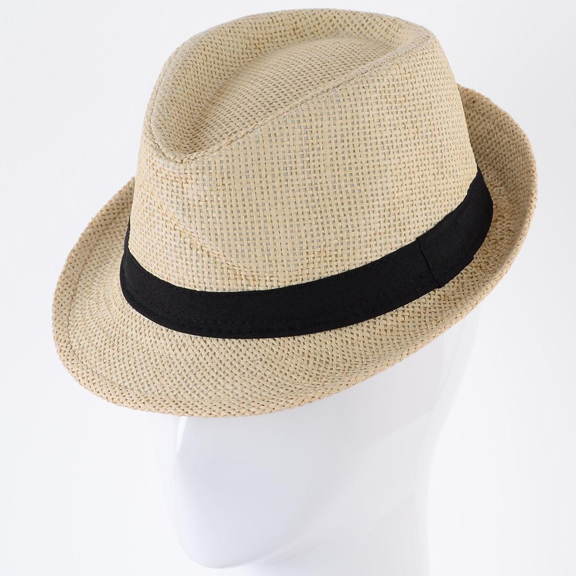 Детская шляпа тёмно бежевая с чёрной лентой