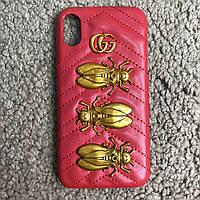"""Брендовый красный чехол Gucci на Iphone X  """"Скарабей""""  (Эксклюзив) реплика люкс класса 1:1"""