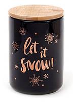 Банка фарфоровая 725 мл с бамбуковой крышкой Let it snow, цвет - черный с золотом