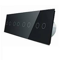 Сенсорный выключатель Livolo на восемь (2+2+2+2) каналов, цвет черный, стекло (VL-C708-12)