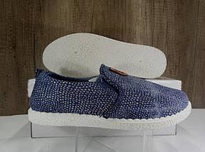 Стильные женские слипоны, синие с блестками, фото 2
