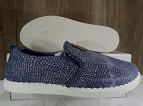 Стильные женские слипоны, синие с блестками, фото 3