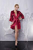 Шикарный сатиновый халат 90 TM Dkaren (Польша) Цвет бордовый