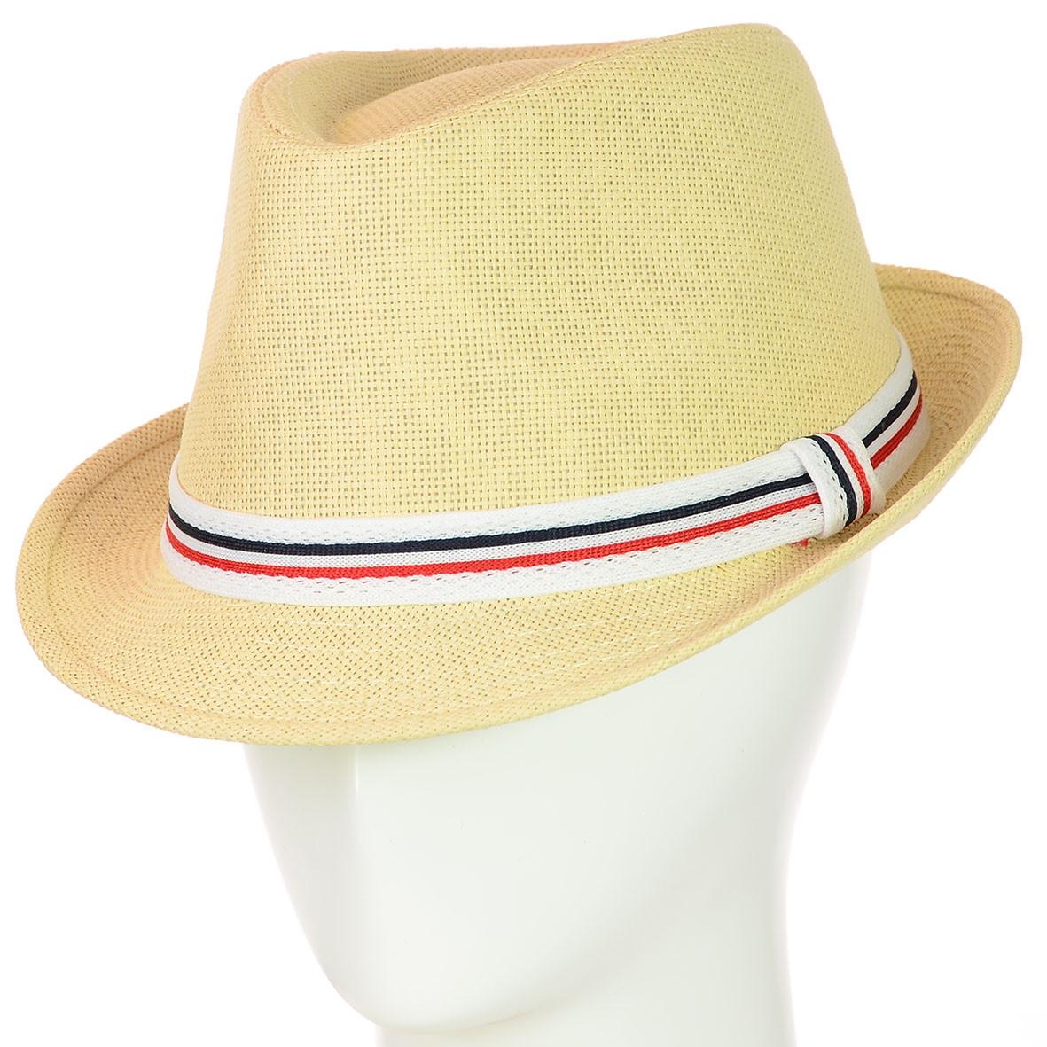 Шляпа федора бежевая  с трёхцветной лентой