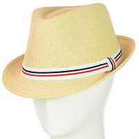Шляпа федора бежевая  с трёхцветной лентой, фото 1