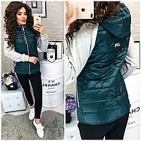 Стильная куртка весна/осень с трикотажным рукавом, модель 768/1,  зеленая бутылка
