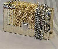 Сумка-клатч копия Christian Dior Диор на цепочке золотая с бусинами