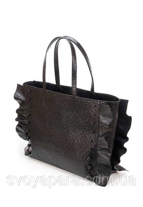 38114f6183b4 Женская сумка из натуральной кожи чёрного цвета с тиснением страус  декорирована черным жемчугом
