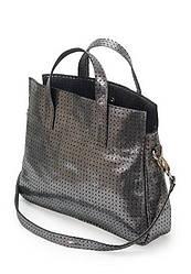Женская сумка Тоут тёмно серая перфорированная кожа (40-01)
