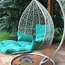 Подвесное кресло шар с подставкой для ног (плетенное из ротанга, цвета разные)