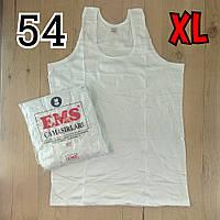 Майка мужская хлопок 100% EMS Турция размер XL-54 белая  однотонная без надписей ММ-2526, фото 1