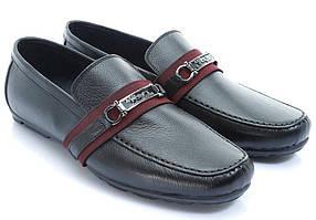 Черные мужские туфли с ремешком
