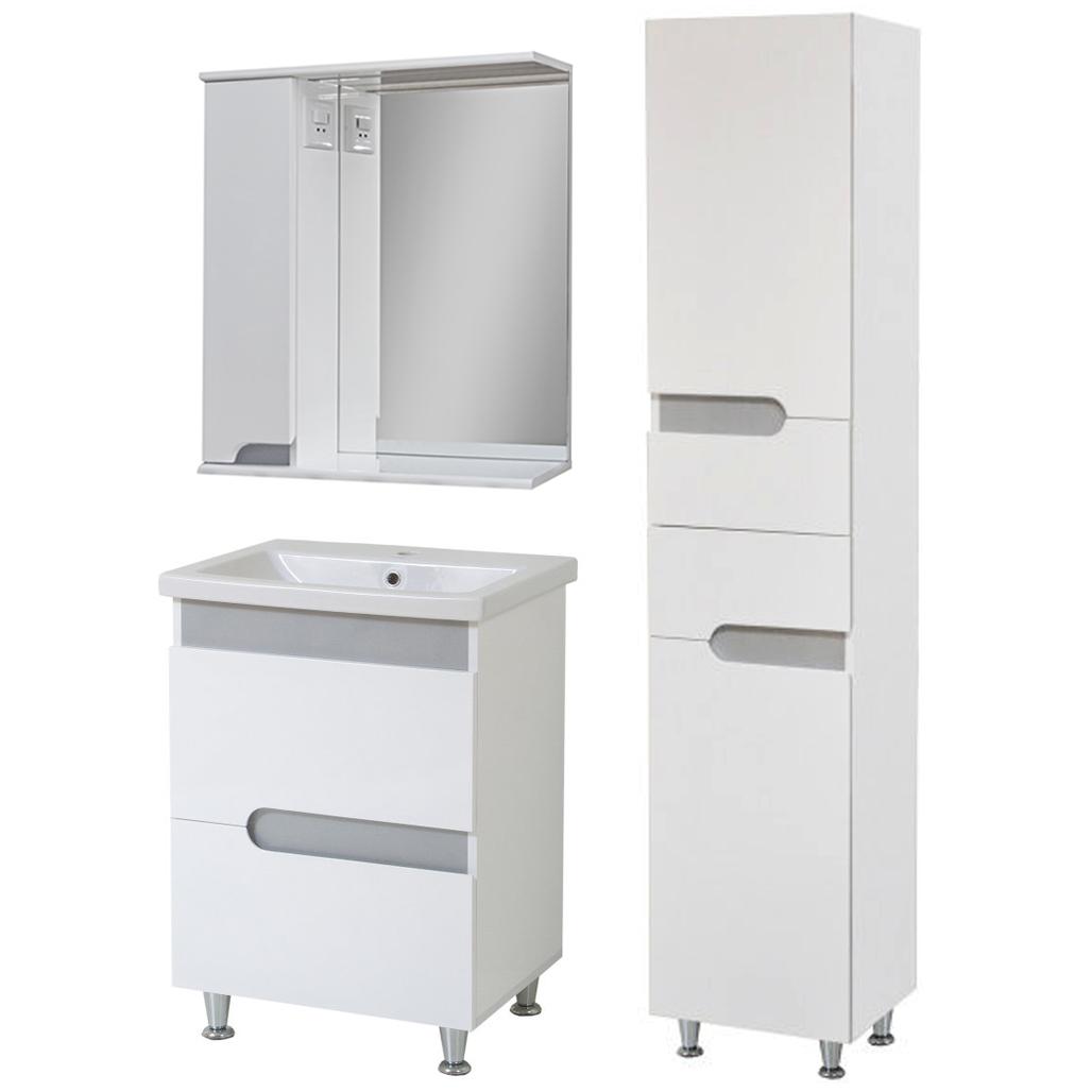 Комплект мебели для ванной комнаты Симпл-Металлик 70-30-70-17-40-11 с зеркалом и пеналом ПИК
