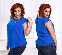 """Летняя женская блуза в больших размерах 1393 """"Штапель Завязки Птичка Вышивка"""" в расцветках"""