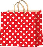 Пакеты для подарков горох на красном фоне размер 24 х 24 см (12 шт./уп.)