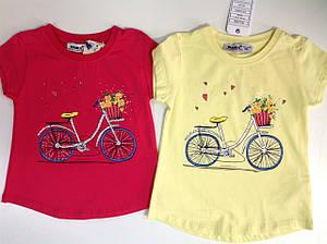 Нарядная футболка  для девочки велосипед